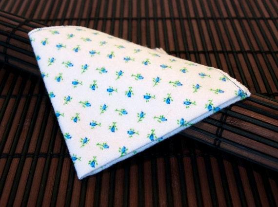 Medium - White with Tiny Blue Flowers Flannel Handkerchiefs - Set of 4 Flankies