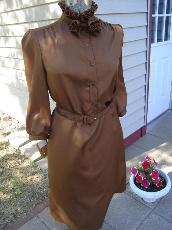 Ladies' Vintage Brown Shirtdress by Dovani of Dallas