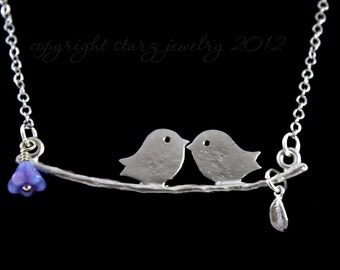 Bird Necklace- Love Birds on a Branch