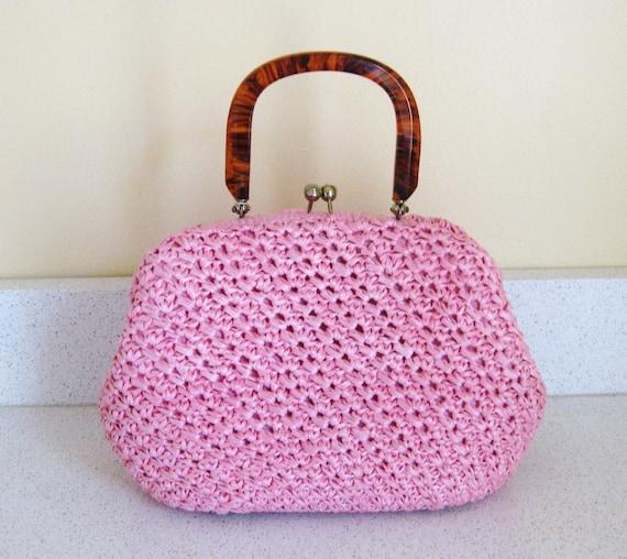 Vintage Dayne Taylor Pink Straw Handbag