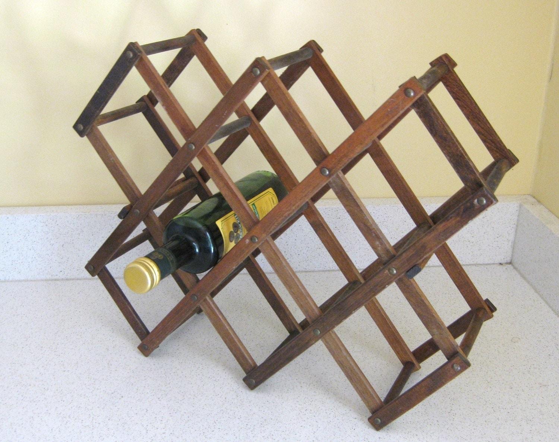 Vintage wooden folding wine rack for Old wine rack