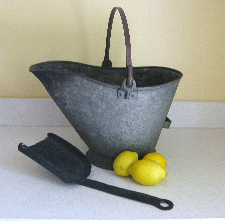 Vintage Galvinzed Metal Coal Bucket With Shovel