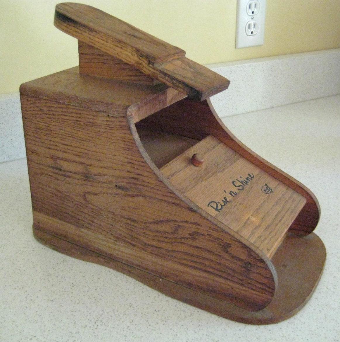 Vintage Wooden Shoe Shine Box Rise and Shine by Karoff