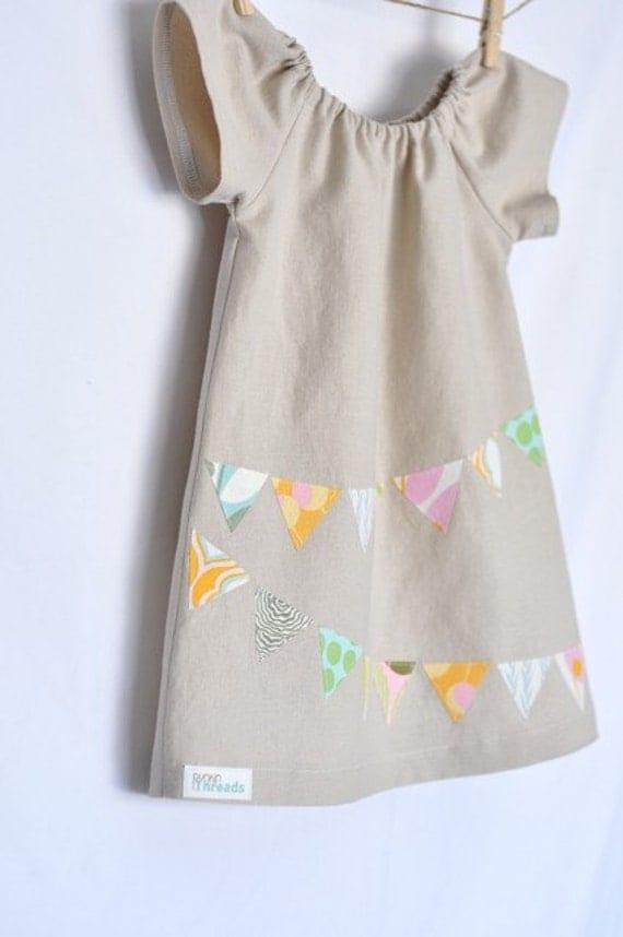 Bunting Applique Peasant Dress