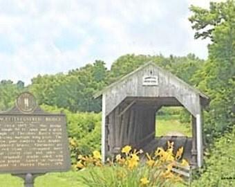 Kentucky Grange City Covered Bridge, Giclee Print On Fine Art Paper or Canvas
