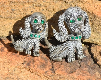 Vintage Signed Gerry's  Spaniel Scatter Pins Pair
