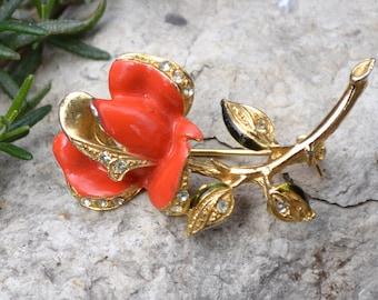 Vintage Coral Rose Brooch Pin