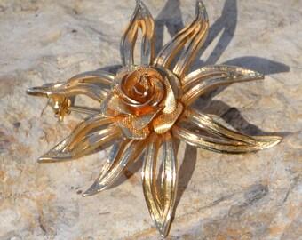 Vintage Rose Brooch Pin Signed Brooks