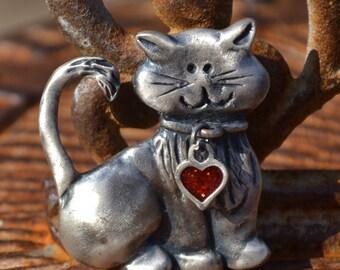Vintage Pewter Kitten Figural Brooch Pin