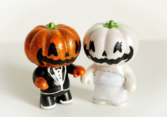 LAST SET EVER Halloween Jack O Lantern Wedding Cake Toppers (Made to Order)