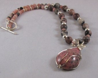Peruvian Pink Opal with Wire Wrapped Cabochon Necklace