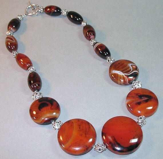 A Necklace of Red Agate and Sterling Silver