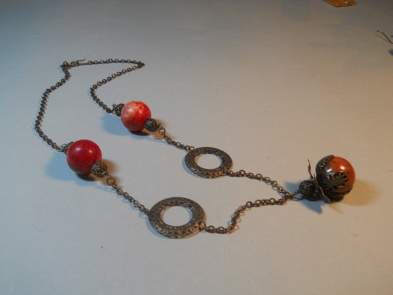 Red Turquoise on Vintaj Brass Chain