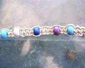 Hemp Tie Bracelet with Blue, White and Purple Wood Beads