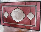 1940s Stained Glass Window Plate Panel with Upcycled Depression Glass Candy Dish