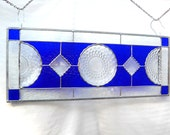 Depression Glass Stained Glass Plate Panel Blue Bubble Hocking Glass 1930s