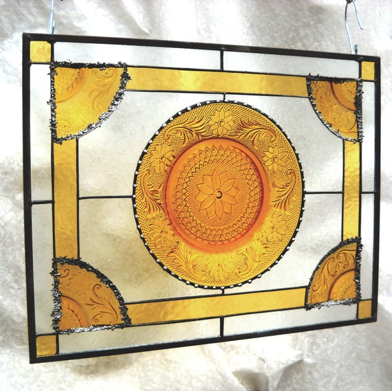 Vintage Sandwich Glass Stained Glass Plate Panel with Amber Tiara Dishes