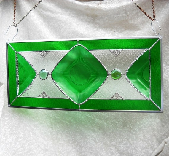 1930s Depression Glass Plate Stained Glass Panel with Hocking Glass Charm