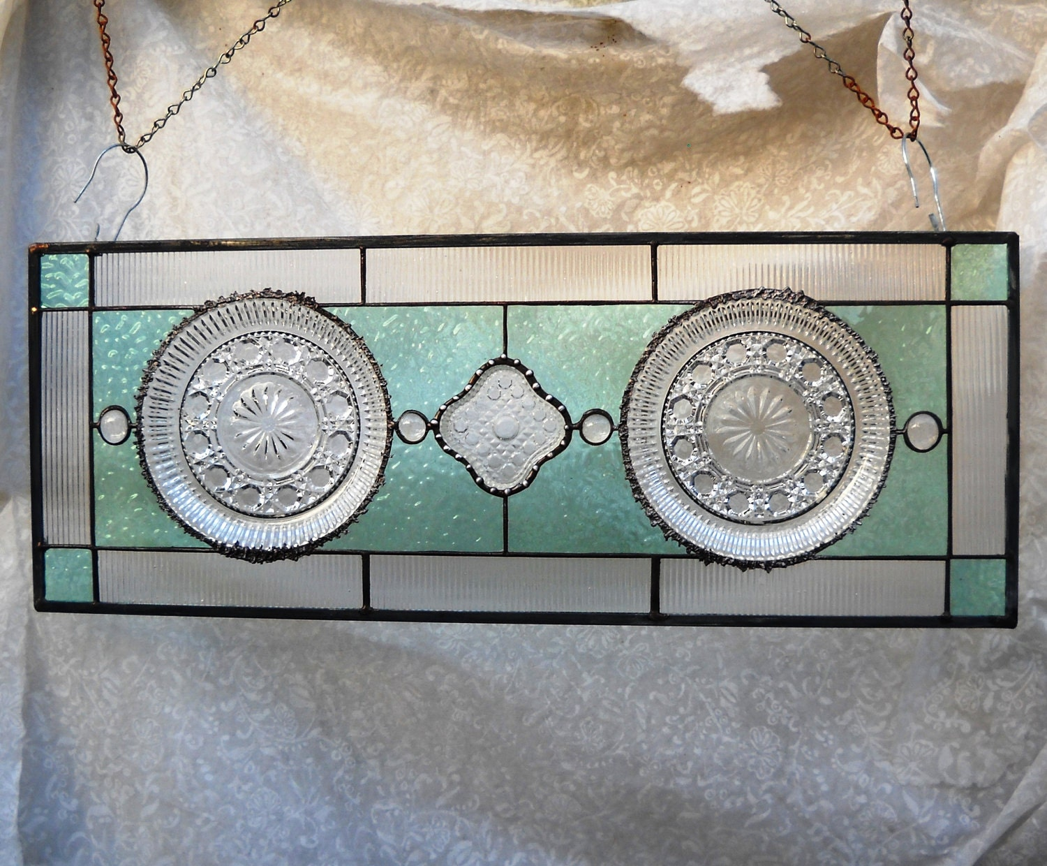 Vintage Stained Glass Plate Panel Depression Glass Window