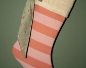 PRICE REDUCED - Vintage French Ticking and Linen Christmas Stocking - Soft Apricot and Sage, Antique Roses