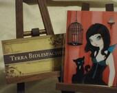 Goth Fairy ACEO print Black cat birdcage