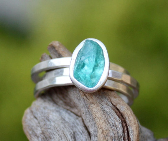 Apatite gemstone rough crystal stacking rings,custom order,choose your stone.