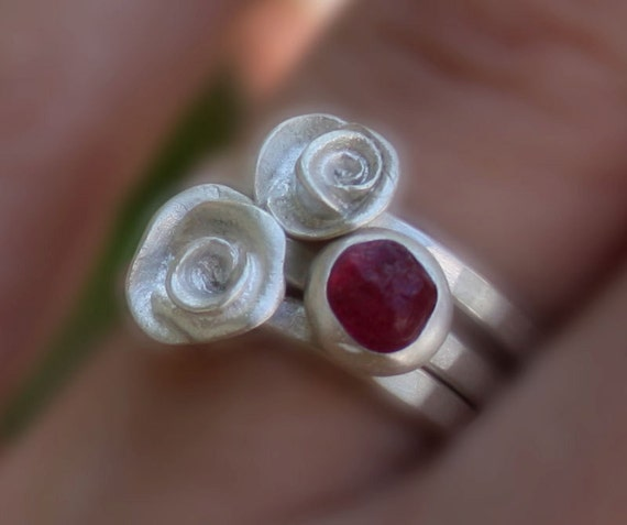 Roses stacking ring gemstone set,natural rough stones,raw,custom order,choose your stone.