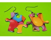 Jigsaw Puzzle Piece Earrings cool neon sweet bright game