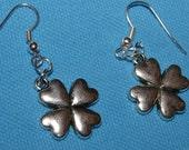 Silver Irish Shamrock Dangle Earrings Cool Kitsch Unique St Patrick 4 Leaf Clover