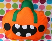 Creepy Pumpkin Face Cushion Plush Soft Toy/Pillow Funny Halloween