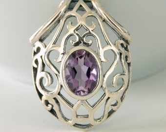 Sterling Silver and Amethyst Ornate Shield Pendant