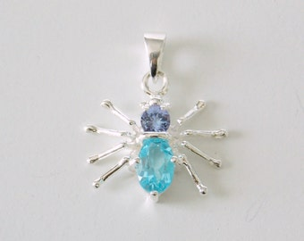 Itsy Bitsy Spider Gemstone and Sterling Silver Pendant