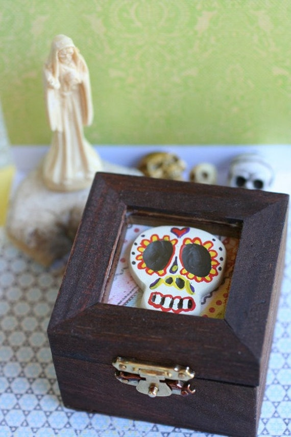 reserved for mushka26 - Sugar Skull Trinket Box - OOAK