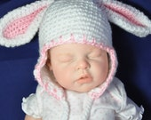 Baby Hat with Bunny Rabbit Ears - size 0 to 6 Months