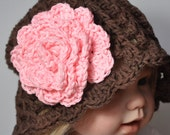 Brown Cottton Hat with Pink Flower in   size 6 years to preteen or Adult