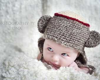 Monkey Hat in Size 0 to 6 months