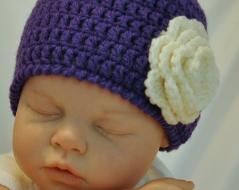 Baby Beanie with Mary Jane Booties in Grape Purple and Ivory in size 3 to 6 months
