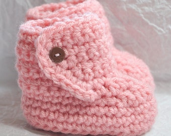 Baby Boot Booties with Button Top size 0 to 6 months in Pink with Brown Buttons