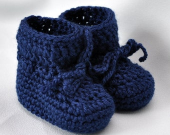 Baby Booties - Simply Simple Navy Blue Booties in size Newborn and 0 to 6 Months
