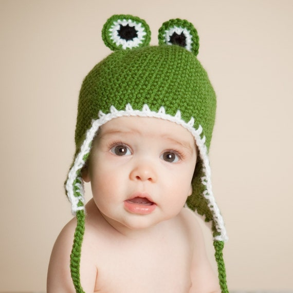 Childs Earflap Hat, Frog Hat  for Children 3 to 8 Years
