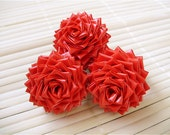 Red Duct Tape Rose Ring - Handmade Duck Tape Flower Ring