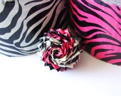 Black Friday/Cyber Monday Sale - Pink and White Zebra Print Duct Tape Rose Ring - Animal Print Jewelry