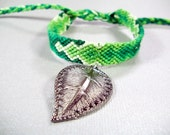 Handmade Knotted Charm Bracelet - Green Friendship Bracelet with Leaf Charm