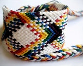 Wide Rainbow Plaid Friendship Bracelet With White Background