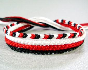 Friendship Bracelet Set in White, Red, and Black - Four Handmade Knotted Bracelets