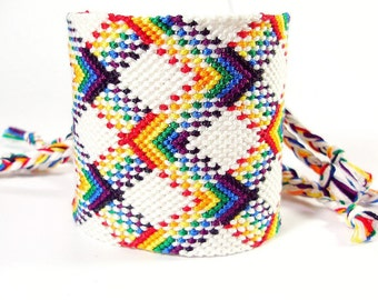 Rainbow Handmade Friendship Bracelet Cuff - Double Wide Plaid Bracelet - Made to Order