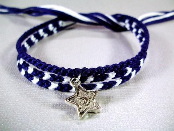 Midnight Sky Friendship Bracelet Set - Three Thin Friendship Bracelets, One with Star Charm - Limited Edition