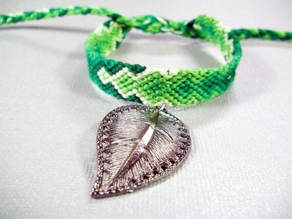 Handmade Knotted Charm Bracelet - Green Friendship Bracelet with Leaf Charm