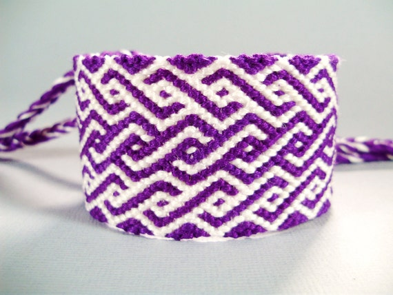 Purple and White Spirals Friendship Bracelet - Clearance