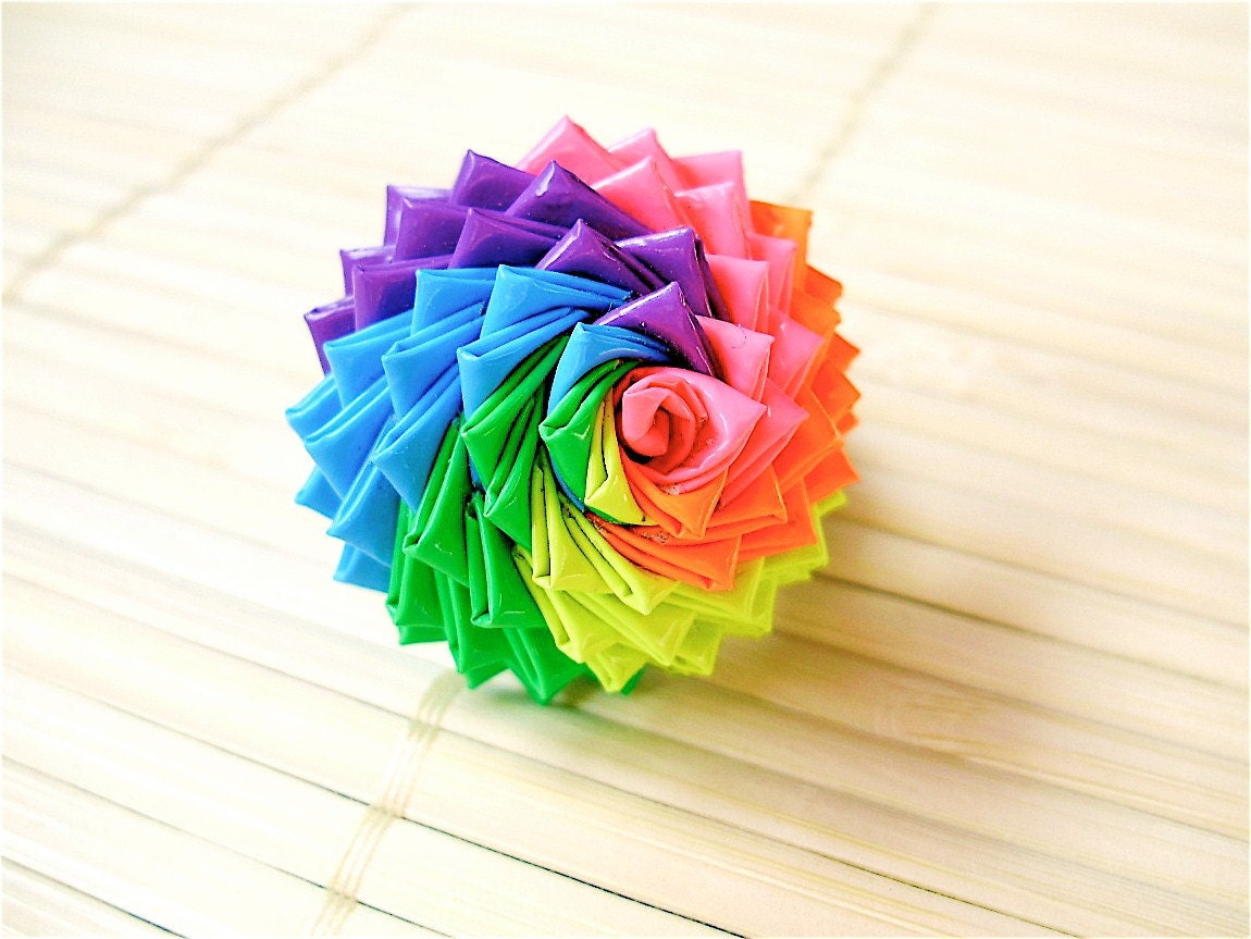 Neon rainbow duct tape rose ring bestselling for Craft ideas with duct tape